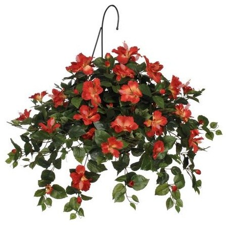 Artificial Tomato Red Hibiscus Hanging Basket Contemporary