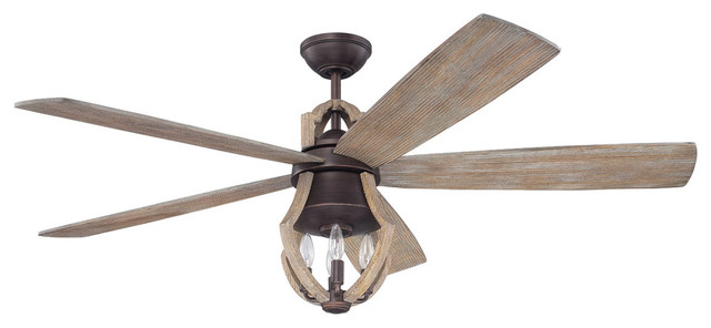 Winton 4-Light Indoor Ceiling Fans, Aged Bronze Brushed And Weathered Pine.