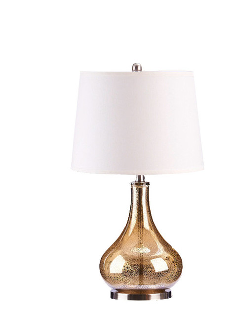 24 Mercury Glass Gourd Table Lamp, Beige Drum Shade, Gold, With Bulb.