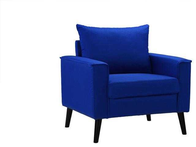Mid Century Modern Linen Fabric Armchair Living Room