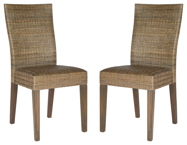 Rattan side chair set of 2 transitional living room chairs