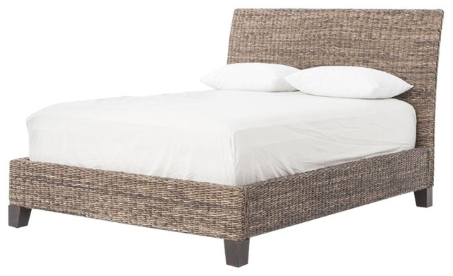 Gr Roots Gray Wash Lanai Banana Leaf Bed Tropical Platform Beds By Seldens Furniture