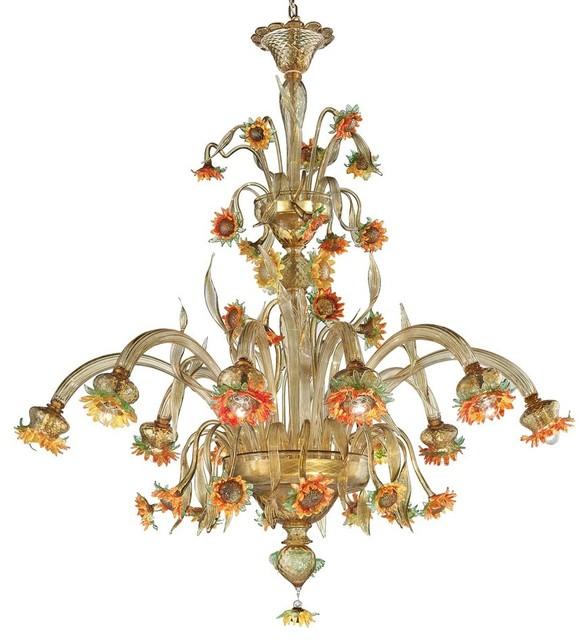 Yvette Crystal Chandelier: Girasole Large Murano Glass Chandelier