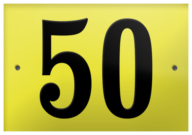 """Number """"50"""" Enamelled Wall Plaque, Yellow, Without Border"""