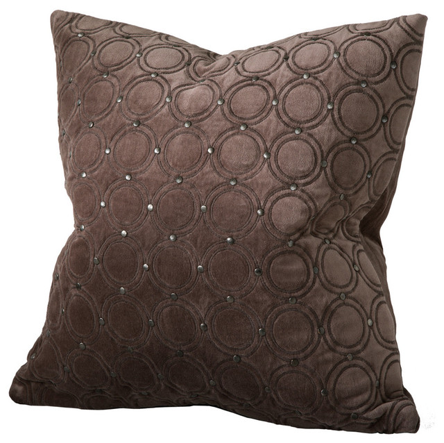 Decorative Down Pillows : Meridian Studded Velvet Feather-Down Pillow - Modern - Decorative Pillows - by Chauran