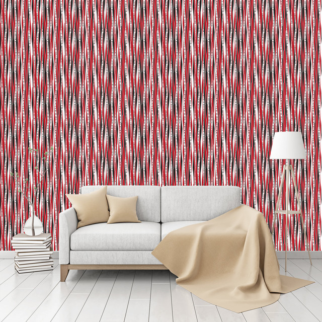 Birch Forest At Sunset Patterned Peel & Stick Textured Wallpaper ...