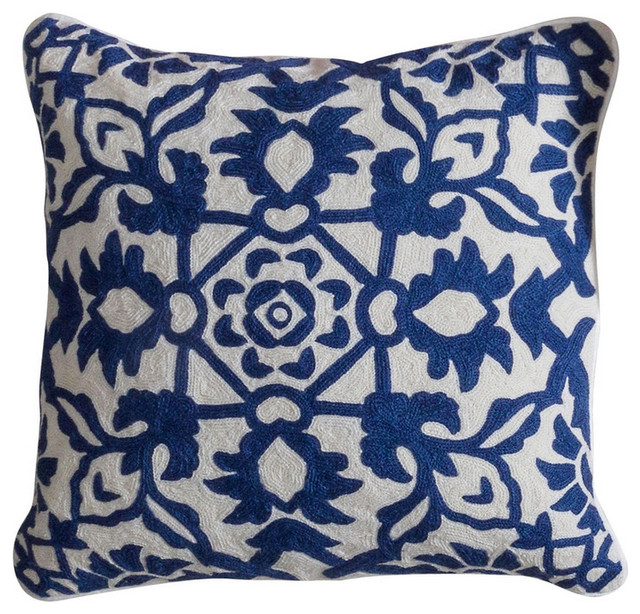 Caroline Pillow - Navy, Hand Embroidered Wool On Cotton, Down Feather Insert - Traditional ...