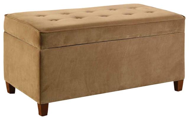 Decorative Mocha Micro Suede Living Room Storage Bench, ...