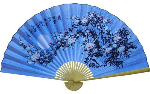 Cobalt Blue Blossoms Asian Wall Fan Asian Home Decor