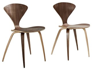 Modern Contemporary Kitchen Dining Chairs Set of 2 Walnut