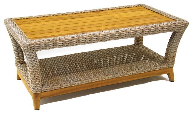 Ash Wicker And Teak Coffee Table.