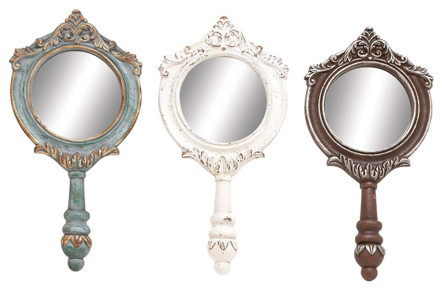 Rustic Elegance Polystone And Wood Wall Mirrors, 3-Piece Set.