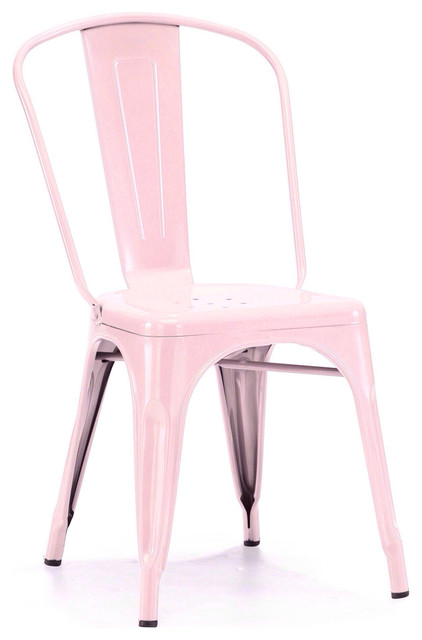 "Amalfi Stackable Vintage Side Chair Set of 4, 17''x17''x33.5"", Glossy Pastel Pin"