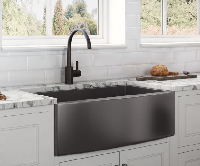 36-inch  Farmhouse Sink - Gunmetal Black Matte Stainless Steel - RVH9880BL