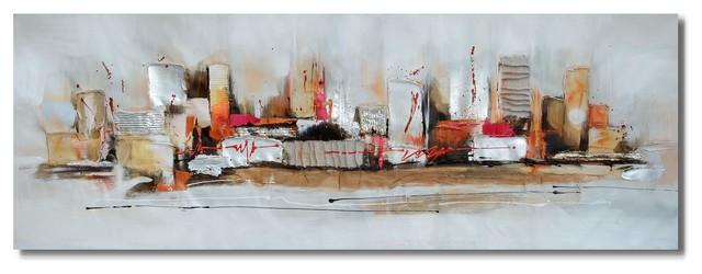 city peinture sur toile 50x150cm contemporain tableau d 39 art par alin a mobilier d co. Black Bedroom Furniture Sets. Home Design Ideas