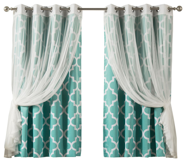 Tulle Lace And Moroccan Room Darkening Mix And Match (4-Pc Set), Blue.