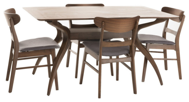 Gdf Studio 5 Piece Isador Mid Century Design Natural Walnut Finish Dining Set Midcentury Dining Sets By Gdfstudio