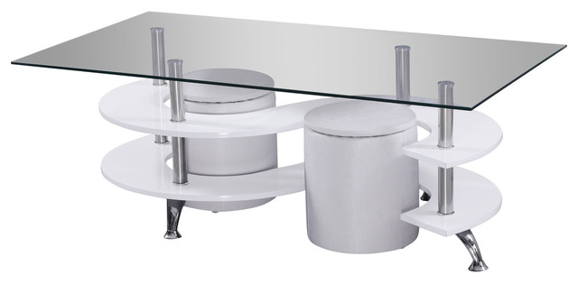 tempered glass lacquer coffee table with 2 seats, 3-piece set