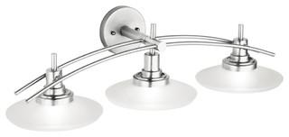Kichler structures 3 light bath wall mount brushed nickel modern bathroom vanity lighting for Art deco bathroom vanity lights