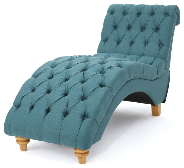 Bellanca Fabric Tufted Chaise Lounge Chair, Dark Teal.