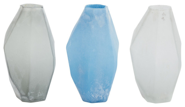 Neveah 3 Piece Frosted Glass Vase Set Contemporary Vases By