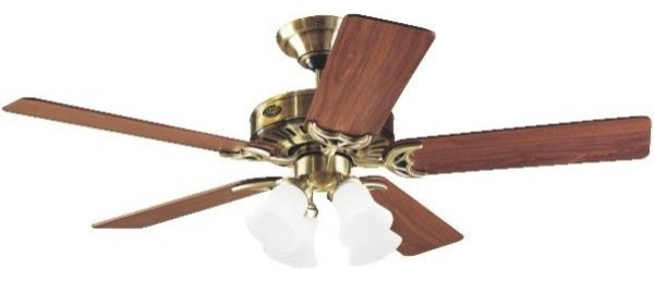 Hunter 52 Studio Series Antique Brass Ceiling Fan With Light.