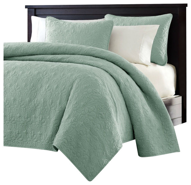 king size seafoam green blue coverlet set with quilted floral