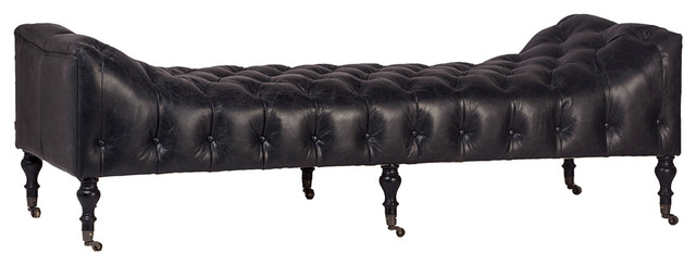 Tufted Chesterfield Black Leather Bench.