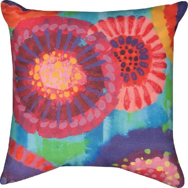 Brightly Colored Starburst Floral Print In/Outdoor Throw Pillow 18 ...