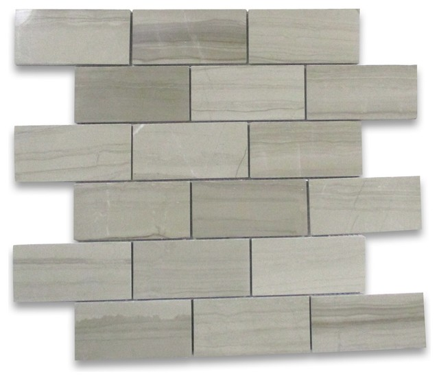 Grey Wood Grain Subway Mosaic Tile