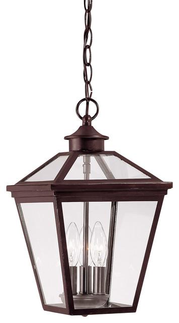 Ellijay 3 Light Outdoor Pendant or Chandeller in English Bronze