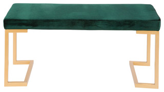 Midas Contemporary Glam Entryway/Dining Bench In Gold With Velvet Cushion,  Green