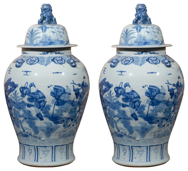 consigned blue and white vases with lids