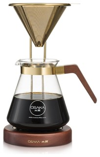 Osaka Large Gold Pour Over Coffee Dripper, Wood Stand, Tojinbo, 27 Oz.    Modern   Coffee And Tea Makers   By The Modern Kitchen