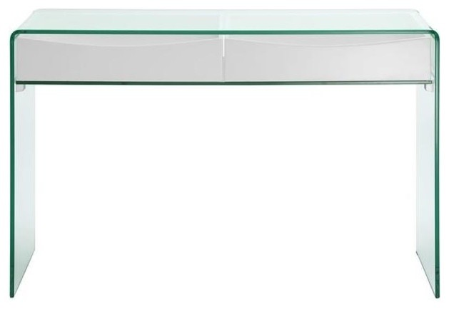 Ibiza High Gloss White Lacquer With Gl Console Table