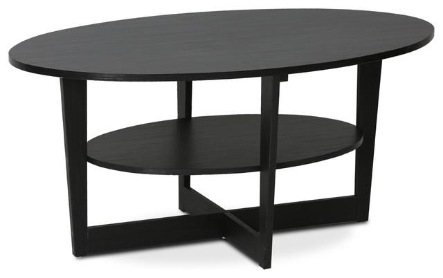 Modern Coffee Table Walnut Finished Composite Wood Open Shelf Oval Design