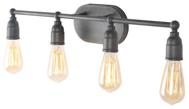 Laluz 4 Light Vanity Lights Silver Wall Sconces Bathroom Lighting