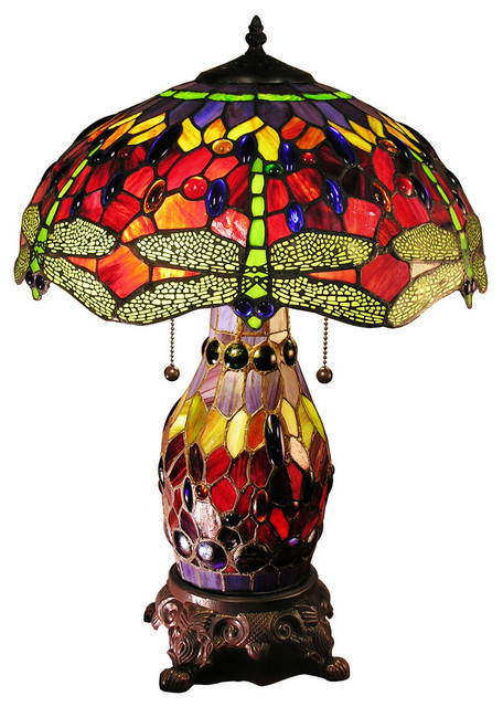 """Warehouse Of Tiffany Zurie 16"""" Double Lit Red Dragonfly Table Lamp."""