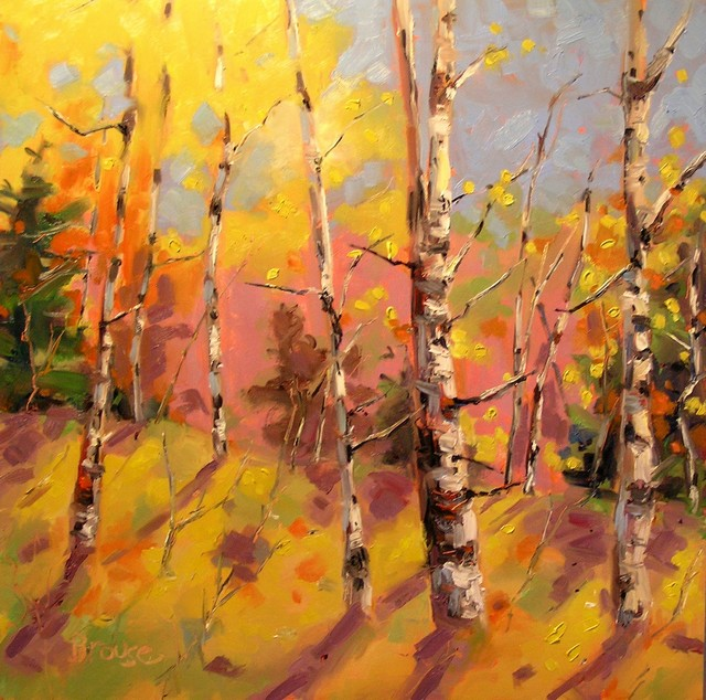 Aspen Shadows Original Oil Painting Contemporary