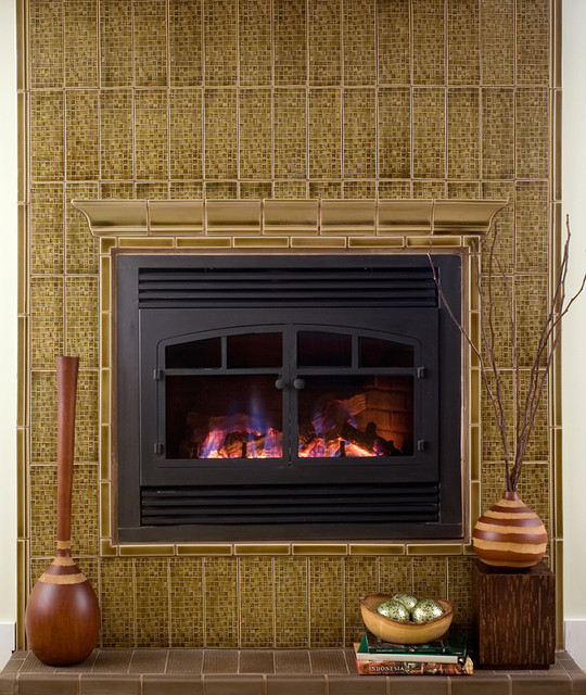 Pratt & Larson Intaglio Tile fireplace contemporary