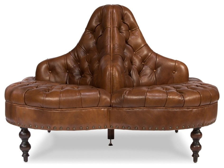 """57"""" Wide Round Sofa Top Grain Leather Light Brown Tufted ..."""