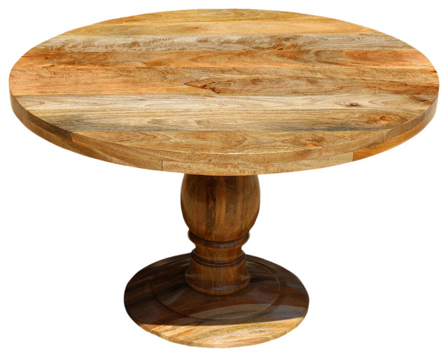 Rustic Mango Wood 48 Round Pedestal Dining Table Rustic
