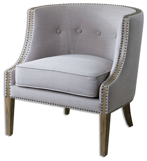 Uttermost Gamila Light Gray Accent Chair Transitional Armchairs And Accent  Chairs