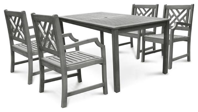 Renaissance Hand-Scraped Hardwood 5-Piece Dining Table And Armchair Set.