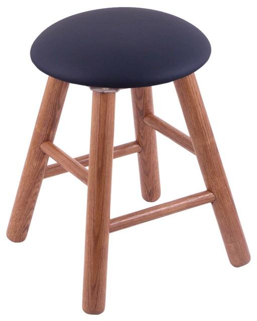 Oak Round Cushion Vanity Stool Smooth Legs Medium