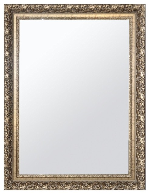 Raphael Rozen Hanging Framed Wall Mounted Mirror Satin Gold Traditional Wall Mirrors By Netmart