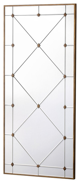 Carol Hollywood Regency Aged Gold Harlequin Wall Mirror, 48.5h.