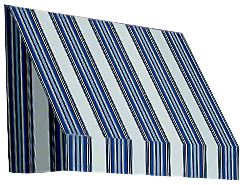 4&x27; New Yorker Window Awning, 56 Hx36 D, Navy, Gray And White.