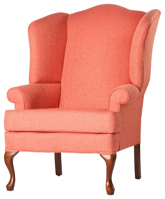 Crawford Wingback Chair, Coral, 28x35x42 Traditional Armchairs And Accent  Chairs