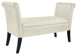 CorLiving Antonio Storage Bench With Scrolled Arms in Cream Bonded Leather